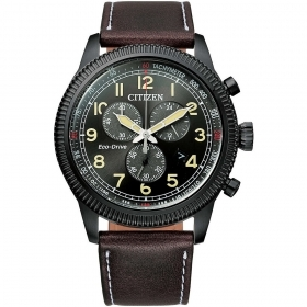 CITIZEN chronograph Aviator Herren armband leder braun AT2465-18E