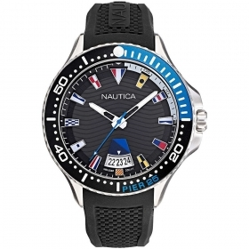 Nautica Watch Only Time Man with double cowhide leather strap black and blue NAPP25F11