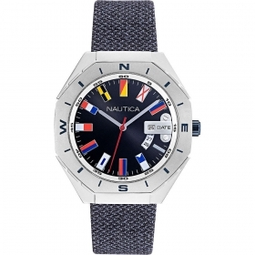 Nautica Watch Only Time man strap blue fabric NAPLSS001