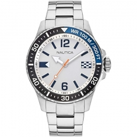 Nautica Watch Only Time Man steel dial color silver NAPFRB921