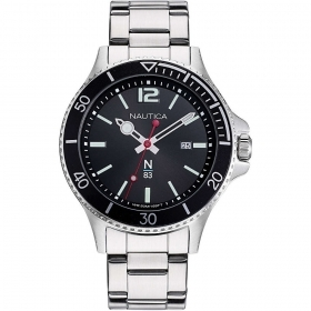 Nautica Watch Only Time Man steel black dial NAPABS910