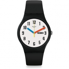 SWATCH MENS WATCH BLACK DIAL WITH WHITE HANDS AND RED AND BLUE SUOB728