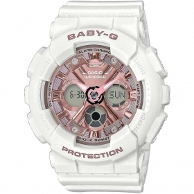 CASIO G-SHOCK multifunction watch white dial pink BA-130-7A1ER