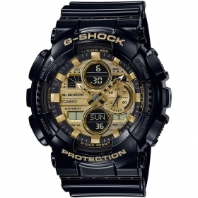 CASIO G-SHOCK multifunction watch black dial gold color GA-140GB-1A1ER