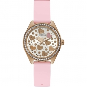 Guess Woman Watch with pink inserts at the heart in the dial Ref. GW0007L1