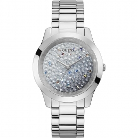 Guess Watch Solotempo Women's polished stainless steel with pave crystals Ref. GW0020L1