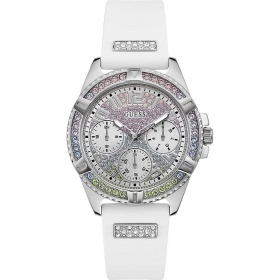 Guess Watch Solotempo white strap crystals multicolor Ref. GW0045L1