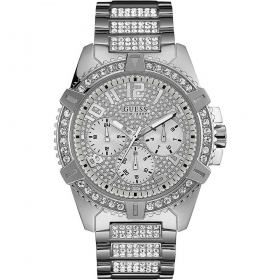 Guess Woman Watch polished stainless steel with pave crystals in Ref. W0799G1