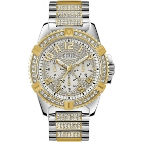 Guess man Watch multfunzione steel bezel with gold color Ref. W0799G4
