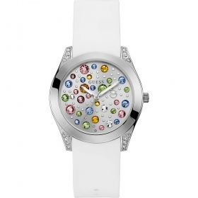 Guess woman Watch steel case silicone strap white Ref. W1059L1