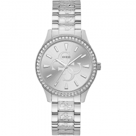 Guess Ladies Watch Polished Steel With Crystals Ref. W1279L2