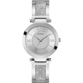 Guess Woman Watch Stainless Steel Dial With Silver Glitter Ref. W1288L1