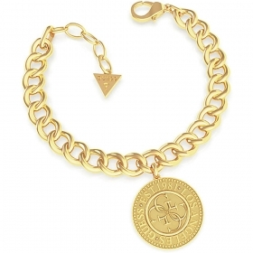 Guess Jewelry Bracelet Woman Steel Gold color Pendant Coin UBB79026-S