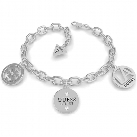 Guess Jewelry Bracelet Women's Chain Square Steel with pendant UBB79050-S