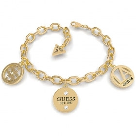 Guess Jewelry Bracelet Women's Chain Square Steel gold color UBB79051-S