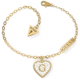 Guess Jewelry Bracelet stainless Steel ladies With Heart Pendant color gold UBB79063-S