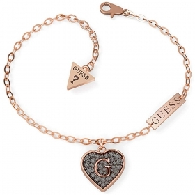 Guess Jewelry, Bracelet stainless Steel Heart Pendant with black crystals UBB79065-S