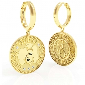 Guess Earrings Jewelry Woman AcciaioOro With Pendant Coin UBE79156