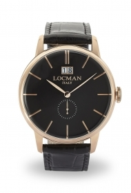 Locman watch only time case steel, black leather strap 0252V09-RGBKRGPK