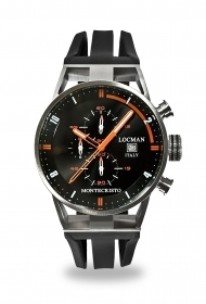 Locman Chronograph Men black dial black hands orange 051000BKFOR0GOK
