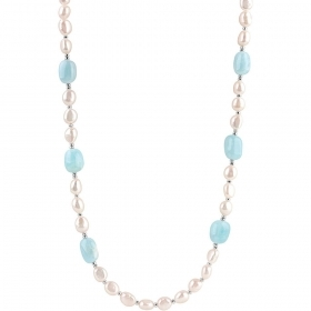 Bliss necklace pearls with 5 caramazze aquamarine Ref. 20084430