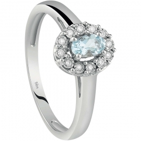 Bliss Ring Woman White Gold With Diamond And Aquamarine 20086200