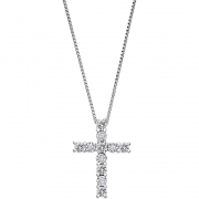Bliss Ladies Necklace With Cross In White Gold With Diamonds 20074961