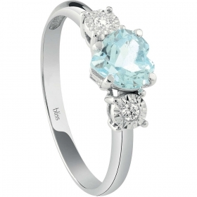 Bliss Ring Woman White Gold With Diamond And Aquamarine 2008