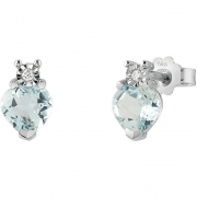 Bliss Earrings Women's White Gold Diamond And Aquamarine 20086602