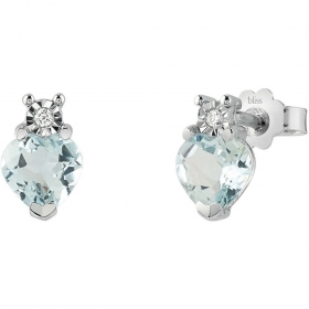 Bliss Earrings Women\'s White Gold Diamond And Aquamarine 200
