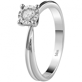 Bliss solitaire ring white gold and diamonds dew 20081298