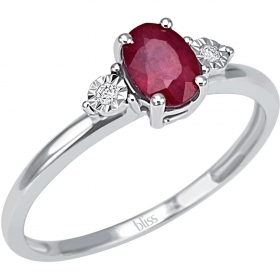 Bliss ring in white gold with diamonds and ruby 20069902