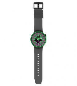 swatch man watch transparent dial indexes green color SO27B113