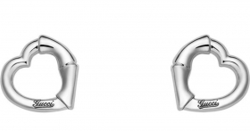 GUCCI earrings women's BAMBOO heart rhodium-plated silver YBD390268001