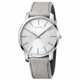 Man watch CALVIN KLEIN CITY steel skin silver dial 43mm K2G211C6