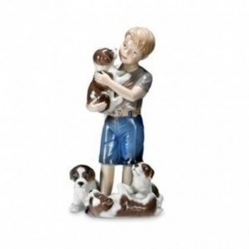 Royal Copenhagen boy with puppies 19cm Figurines 1249362