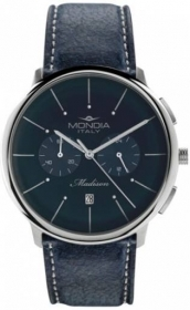 Mondia mens watch MADISON leather chrono BLUE, 42mm Ref.MI751-2CP