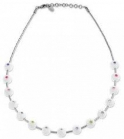 Swatch necklace biancolori white balls with colored inserts JPW019