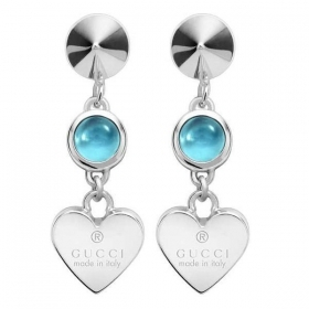 GUCCI earrings woman silver pendants heart blue topaz YBD325837001