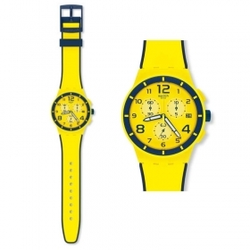 Chronograph SWATCH watch yellow man SOLLEORE SUSJ401 new collection 42mm