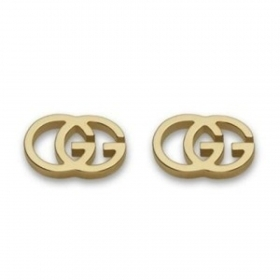 GUCCI EARRINGS WOMAN GG tissue YELLOW GOLD LOGO BUTTON YBD094074002